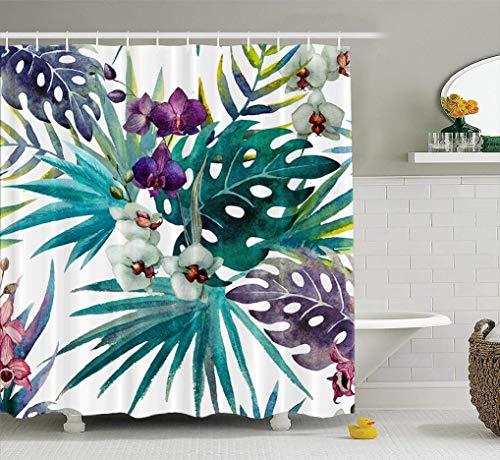 LILYMUA Palm Leaf Shower Curtain,Tropical Shower Curtain, Beautiful Floral Jungle Colorful Tropical Flowers Palm Shower Curtain Polyester Bath Curtain Waterproof Tropical Bathroom Decor 72X72 Inch (Beach Flower Palm Garden)