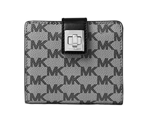 MICHAEL Michael Kors Womens Natalie Coated Canvas Bifold Wallet Black O/S
