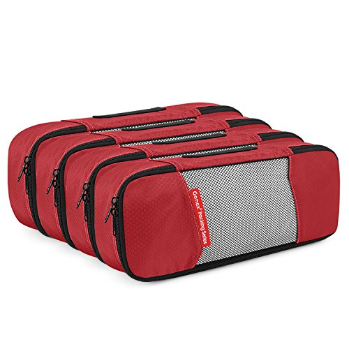 Gonex Packing Cubes Travel Organizer Cubes for Luggage 4 Slim Red