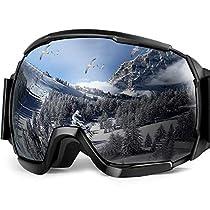 Eletecpro Ski Goggles OTG Anti Fog Snow Goggles for Man Women UV400 Protection Ski Snowboard Goggles with Frame and Detachable Foam