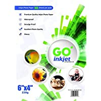 GO Inkjet - 100 Feuilles de Papier Photo 230gm format 15x10cm - Papier blanc extra brillant et waterproof, compatible imprimantes photos et jet d'encre