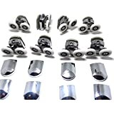 Replacement Shower Door Fixing Wheels in Chrome - 4x Top & 4x Bottom - Fits Glass 6-8mm ...