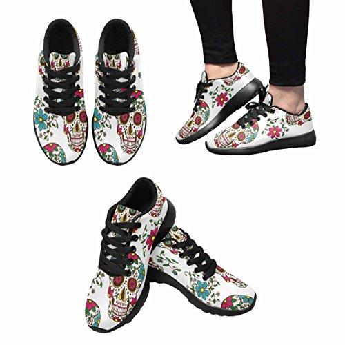 Interestprint Mujeres Trail Running Zapatos Jogging Ligero Deportes Walking Athletic Sneakers Calaveras Y Plantas Multi 1
