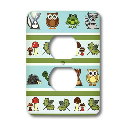 3dRose LLC lsp_13806_6 Cute Woodland Creatures Forest Print, 2 Plug Outlet - Woodland Outlet