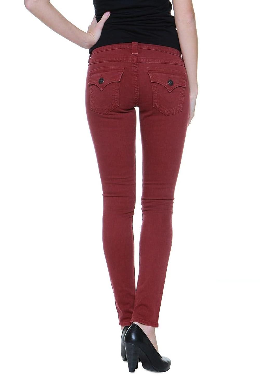 True Religion Damen Jeans Skinny Skinny Jeans SERENA MID RISE SPR SKI Wash HW REDWOOD , Farbe: Dunkelrot