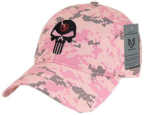 Rapiddominance A03-PUNISH-PKD Relaxed Graphic Cap, Punisher Skull, PKD, Pink Digital