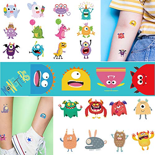 Ooopsi Monster Temporary Tattoos for Kids – More Than 120 Tattoos – Cute Cartoon Tattoos Sticker for Boy Girl Birthday Party Decorations Supplies Favors