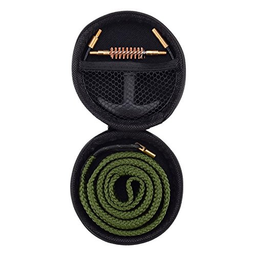 Raiseek Gun Bore Cleaner Snake Brush Barrel Rope Cleaning Kit with Handle in Zippered Organizer Compact Case - Select Your Caliber (Barrel Guide)