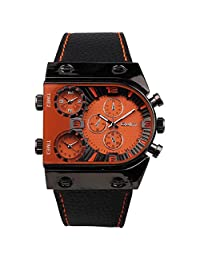 Oulm Man's Fashion Watch with 3 Quartz Movement Dial Leather Band --HP9315 orange by Oulm
