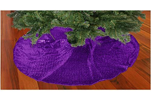 ShinyBeauty Christmas Tree Skirt 24Inch Handmake Chritmas Tree Decoration-Purple