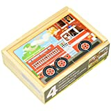 Melissa & Doug Vehicles Jigsaw Puzzles in a Box, Four Wooden Puzzles, Sturdy Wooden Storage Box, 12-Piece Puzzles, 20.32 cm H x 15.24 cm W x 6.35 cm L