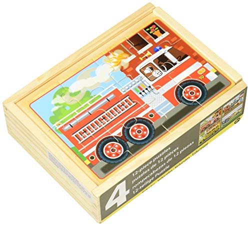 Melissa & Doug Vehicles 4-in-1 Wooden Jigsaw Puzzles in a Storage Box (48 pcs) - Doug Wooden Jigsaw Box