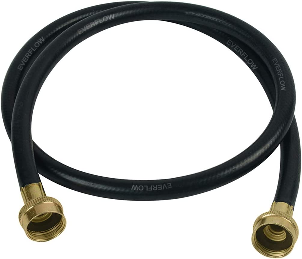 Everflow 25612 12 Feet Washing Machine Hose Durable Black Rubber, EPDM Rubber Tube & Cover, F3/4 Inch X F3/4 Inch Supply Line Spiral Polyester Reinforcement, Stamped Brass Hose Ends Made in USA