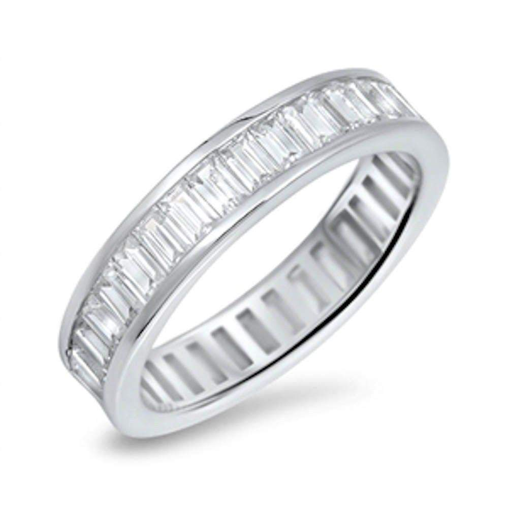 Princess Kylie Channel Set Baguette Clear Cubic Zirconia Eternity Band Ring Sterling Silver