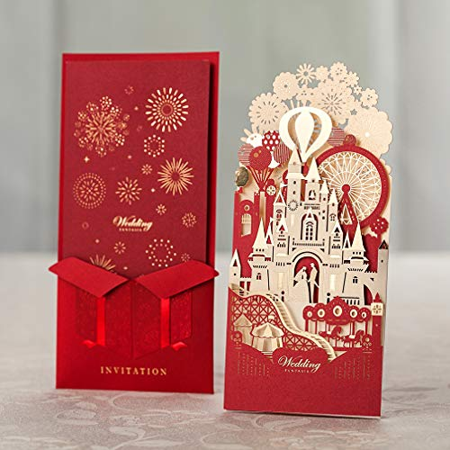 WISHMADE [Sweet Love] 50 3D Red Laser Cut Wedding Invites with Printable Insert and Envelope, Invitation Kit with Bride & Groom in Castle and Bronzing Design (50PC) -