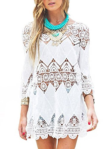 Yonala Womens Lace Floral Hollow Out Beachwear Bikini Cover Up Dress, White, One size