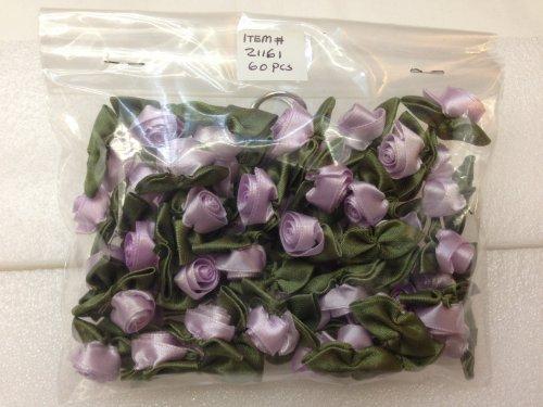 Satin Rosette Ribbon Bow (Ribbon Roses Ribbon Flowers with Green Leaves Lavender Color - Value Pack 60 Pcs)