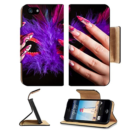 Liili Premium Apple iPhone 5 iphone 5S Flip Pu Leather Wallet Case Human fingers with long fingernail and beautiful manicure holding venetian mask iPhone5 Photo 5821287 Simple Snap (Simple Venetian Masks)