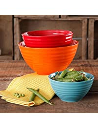 Want The Pioneer Woman 3 pc Ceramic Mixing Bowl Set (Flea Market (Orange/Red/Teal)) deliver