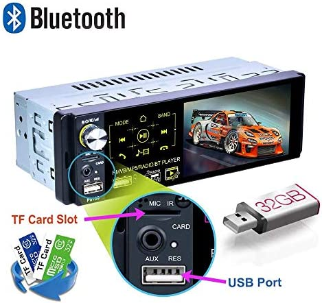 youyuekeji Single Din Car Stereo – 4.1 Car Radio HD Touchscreen with Bluetooth USB MP3 MP5 AM FM RDS Radio Support Rear View Camera External Microphone Subwoofer Steering Wheel Control