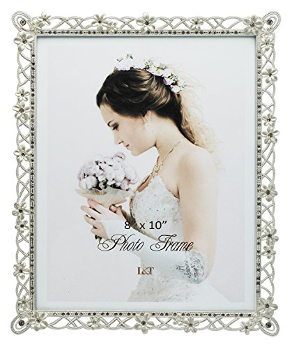 Wedding Photo Silver - L&T Wedding Picture Frame Silver Metal with White Flowers and Crystals 8 x10 Inch