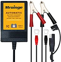 Mroinge MBC010 Automotive Trickle Maintainer 12V 1A Smart Automatic Battery Charger for Car Motorcycle Boat Lawn Mower...