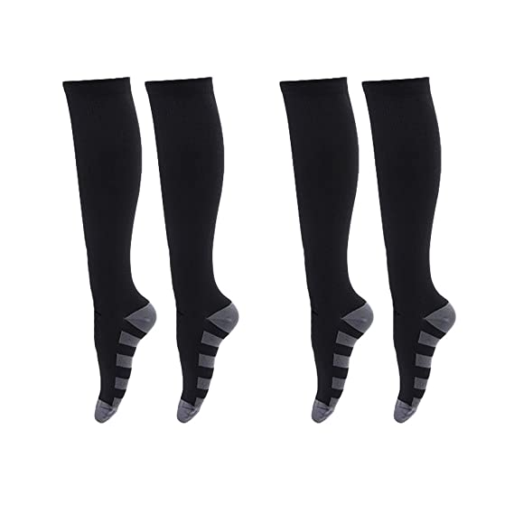 61aaeb8b315 2 Pairs Women Men Compression Socks Knee High Stocking Nylon Sports  Athletic Running Socks for Exercise Soccer Ball - Size S M(Black)   Amazon.in  Clothing   ...
