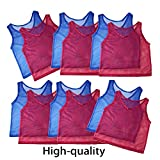 Adorox 12 Pack Adult Scrimmage Team Practice Nylon Mesh Jerseys Vests Pinnies for Children Sports Football, Basketball, Soccer, Volleyball (6 Red and 6 Blue)