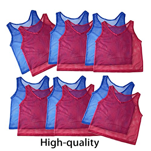 Adorox Adult - Teens Scrimmage Practice Jerseys Team Pinnies Sports Vest Soccer, Football, Basketball, Volleyball (12 Pcs. (6 Red + 6 Blue))