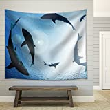 wall26 - School of sharks circling from above - Fabric Wall Tapestry Home Decor - 68x80 inches