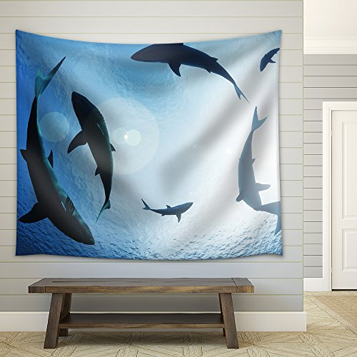 School of sharks circling from above Fabric Wall
