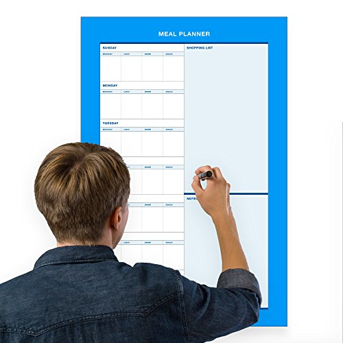 Erasable Weekly Meal Planner - 18''x27'' inch | Menu Prep for Kitchen Wall or Fridge Light Blue by ExImCenter