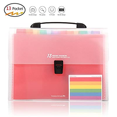 HJSMing 13 Pockets-Handle Portable File Folders/Expandable Folders/Multicolor Folders/A4 Accordion File Manager/Business Office Student Organizer/Plastic Folder Organizer