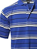 Basic Casual Short Sleeves Stripe 3 Button Placket