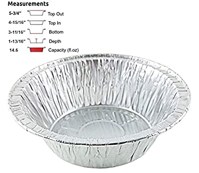 "Durable Packaging 5 3/4"" Deep Aluminum Foil Chicken Meat/Pot Pie Pan 50/Pk -Disposable Baking Tins (pack of 50)"