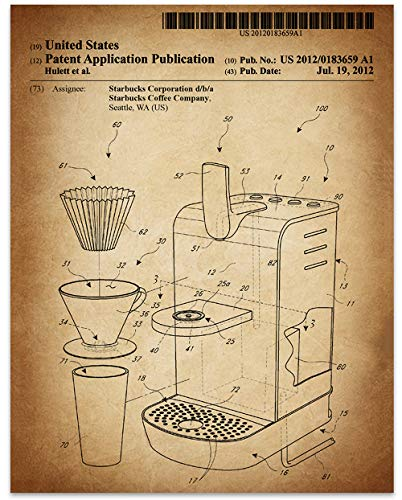 Starbucks Coffee Machine - 11 x 14 Unframed Patent Print - Great Gift for the Starbucks Addict or Coffee Lover in Your Family. ()