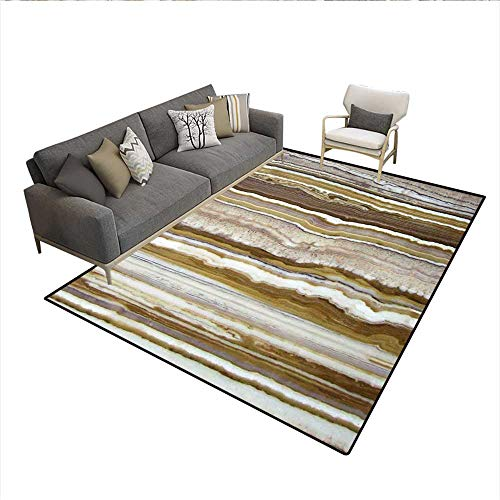 Floor Mat,Onyx Marble Rock Themed Vertical Lines and Blurry Stripes in Earth Color Print,Rugs for Bedroom,Mustard Brown 6'6