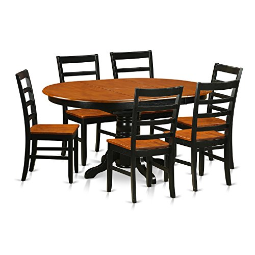 East West Furniture AVPF7-BCH-W 7 Piece with 6 Wooden Chairs Avon Dining Set