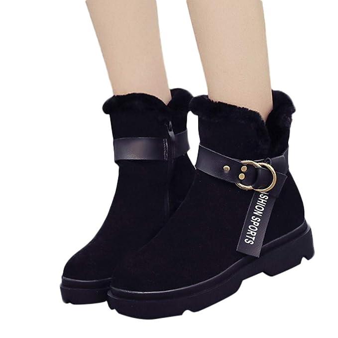 LILICAT❋ Moda Mujer Botas de Invierno Nieve Botines cálidos Plataforma Botas de Goma Hebilla de Cuero Calado Calado Botas Laterales (Negro, Marrón, ...