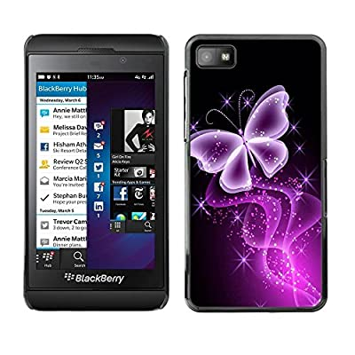 Smartphone Protective Case Hard Shell Cover for Cellphone Blackberry Z10 / CECELL Phone case / / Butterfly Glitter Glittering Black Neon Purple / from CECELL Phone case
