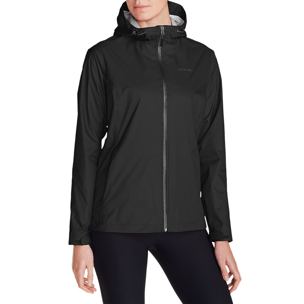 Eddie Bauer Women's Cloud Cap Lightweight Rain Jacket, Black Petite XL