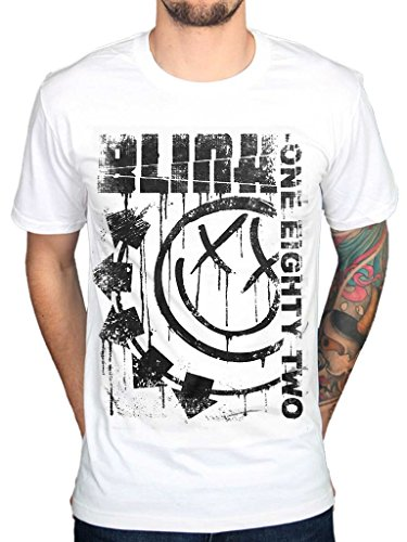 AWDIP Men's Official Blink 182 Spelled Out One Eighty Two T-Shirt Rock Pop Punk Band Group