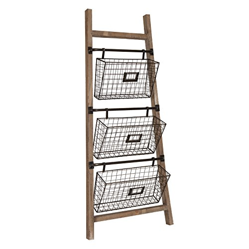 Ladder Hanging - Kate and Laurel Cannon Wood and Metal Leaner Storage Basket Ladder, Rustic Brown