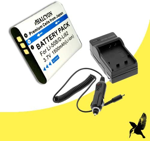Halcyon 1500 mAH Lithium Ion Replacement Battery and Charger Kit for Pentax Optio WG-1 Digital Camera and Pentax LI-92B
