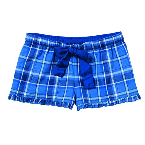 Royal Blue White Sparkle Check Plaid VIP Bitty Boxer Shorts for Women and Girls, Extra Large (Boxer Short Flannel White)