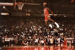 Michael Jordan Famous Foul Line Dunk Vintage Sports Poster Print Poster Poster Print, 35x24