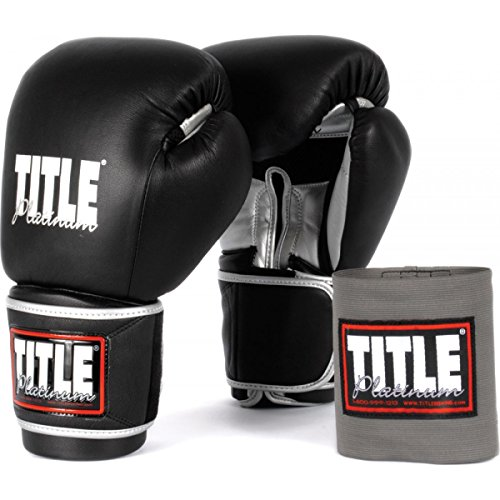 TITLE Platinum Paramount Training/Sparring Gloves, Black/Silver, 16 oz