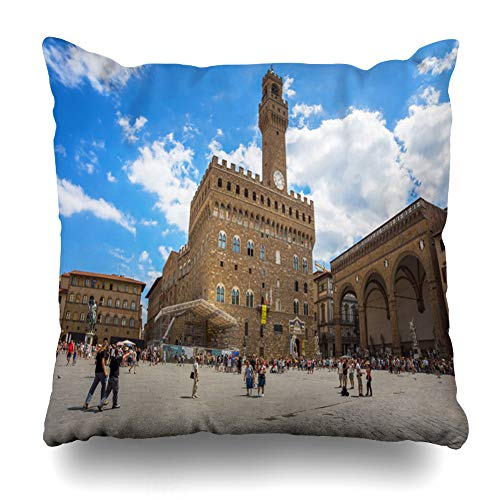 Ahawoso Throw Pillow Cover Square 16x16 Medici Blue Italy Florence Firenze July 28 Gallery View Palazzo Vecchio Ancient Antique Design Castle Zippered Cushion Pillow Case Home Decor Pillowcase