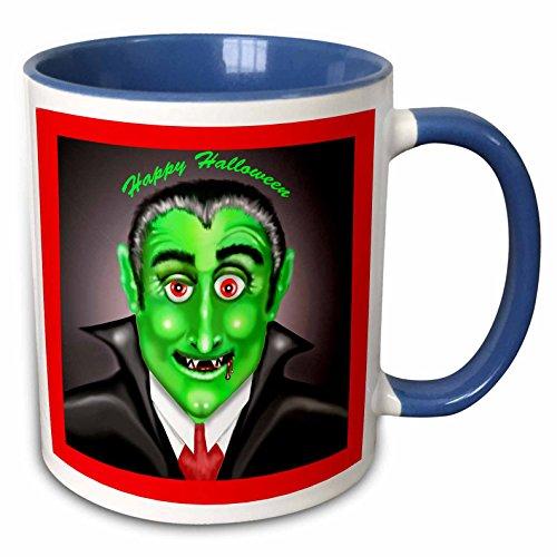 3dRose Dawn Gagnon Photography Halloween Designs - Count Dracula Happy Halloween Greeting - 15oz Two-Tone Blue Mug (mug_165617_11) -
