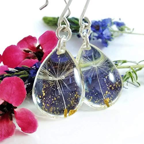 Dandelion Earrings ~ Blue Enamel Dandelion Print Drop Earrings